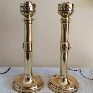 Pair French Metamorphic Brass Candlesticks