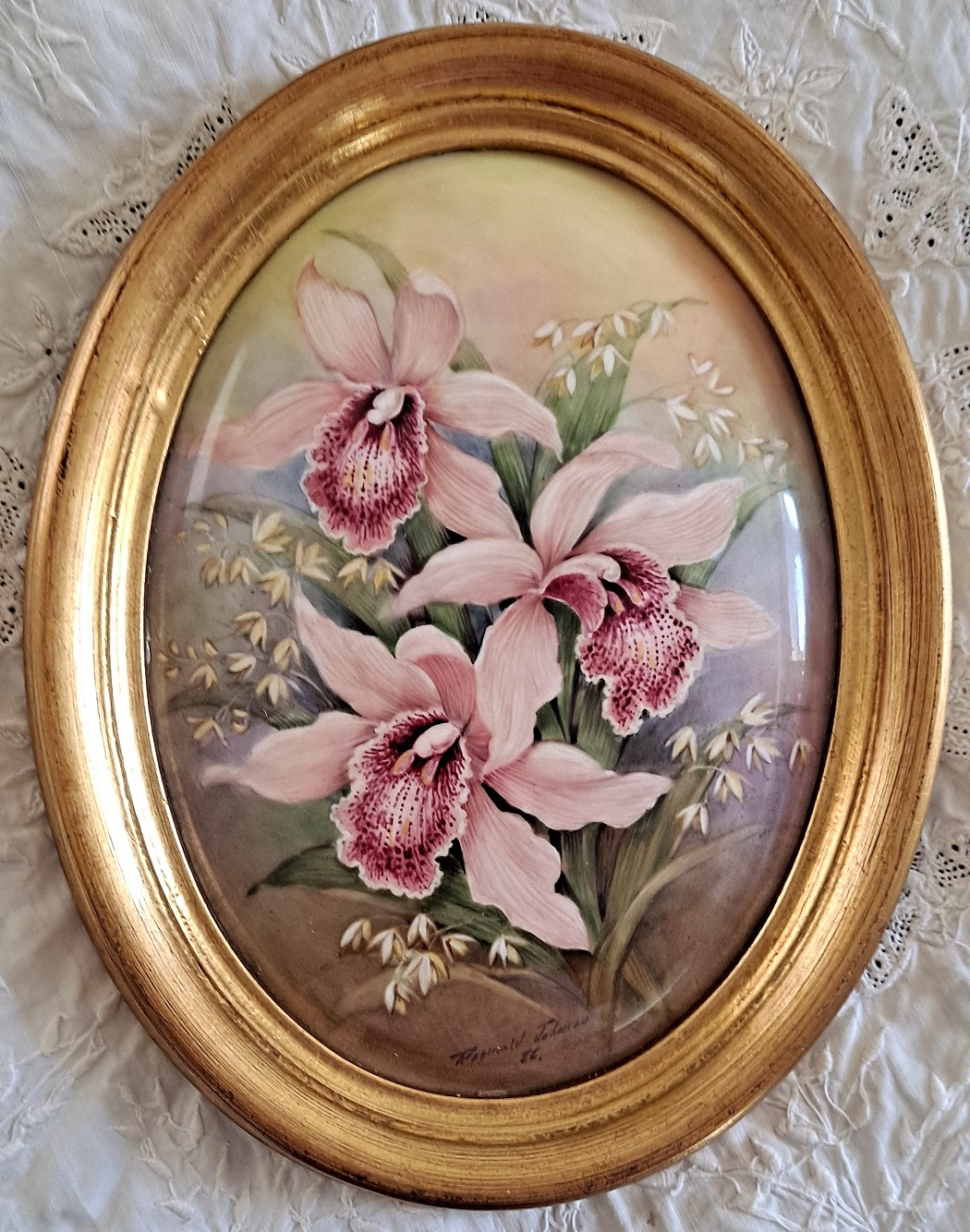 Oval Watercolour Orchids